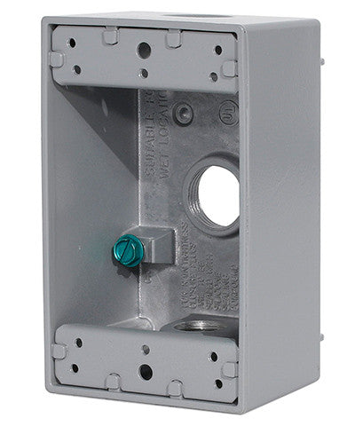 "1-Gang Weatherproof Box with Three 1/2"" Diameter Outlets, 1GM53-GY - Leviton"