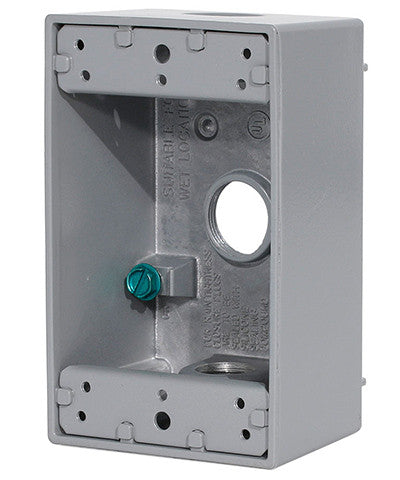 "1-Gang Weatherproof Box with Three 3/4"" Diameter Outlets, 1GM73-GY - Leviton"