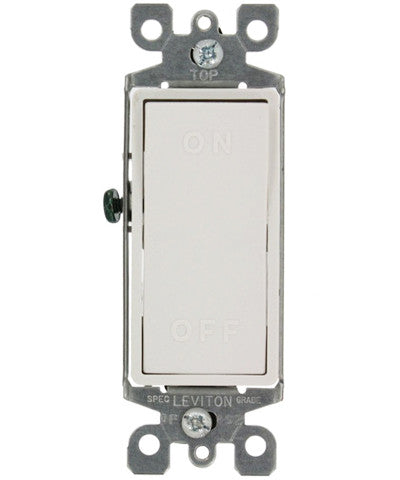 15 Amp, 120/277 Volt, AC, Single-Pole, Decora Rocker Switch, Residential Grade, On/Off Molded in Rocker, White, 5601-X2W - Leviton