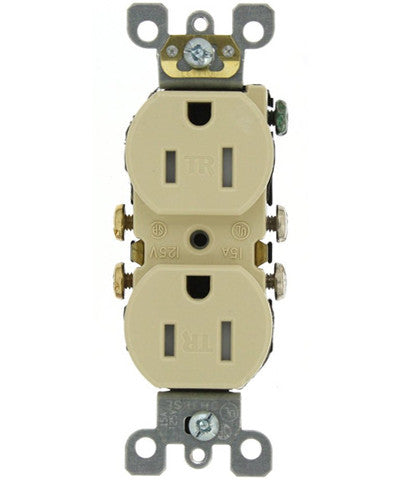 15 Amp 125 Volt, Tamper Resistant, Duplex Receptacle, Residential Grade, Self Grounding, Various Colors, T5320-S - Leviton - 1