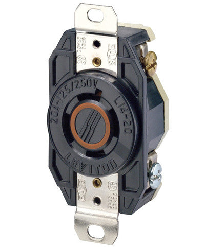 20 Amp, 125/250 Volt, NEMA L14-20R, 3P, 4W, Flush Mtg Locking Receptacle, Industrial Grade, Grounding, V-0-MAX - Black, 2410 - Leviton