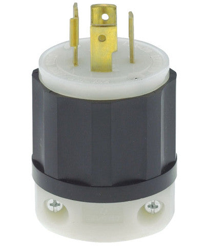 20 Amp, 125/250 Volt, NEMA L14-20P, 3P, 4W, Locking Plug, Industrial Grade, Grounding, Black-White, 2411 - Leviton