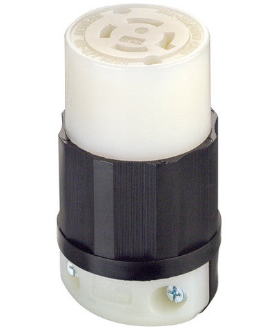 20 Amp, 125/250 Volt, NEMA L14-20R, 3P, 4W, Locking Connector, Industrial Grade, Grounding, Black & White, 2413 - Leviton