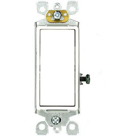 15 Amp 120/277 Volt AC, Single-Pole, Quickwire Push-in and Side Wired Decora Rocker Switch, Self-Grounding, 5601-S2 - Leviton - 1