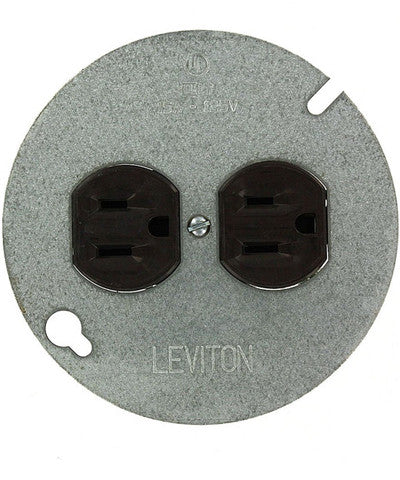 "15 Amp, 125 Volt, Duplex Receptacle, with 4"" Metal Cover, Residential Grade, Grounding, Brown, 1228 - Leviton"