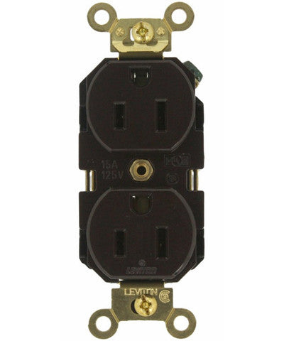 15 Amp, Duplex Receptacle, Industrial Heavy Duty Grade, Straight Blade, 125 Volt, Self Grounding, Various Colors, 5262 - Leviton - 1