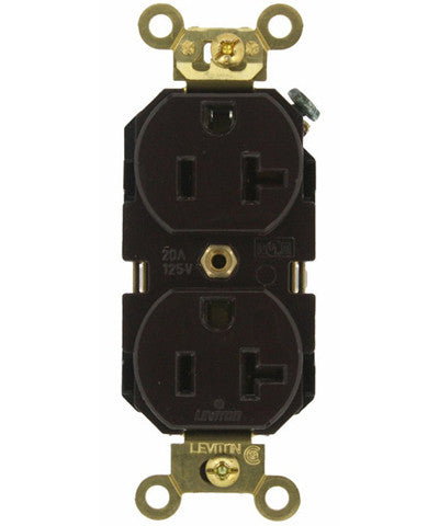 20 Amp, Duplex Receptacle, Industrial Extra Heavy Duty Grade, Straight Blade, 125 Volt, Self Grounding, Brown/Black/Gray/Ivory/Red/White, 5362 - Leviton - 1
