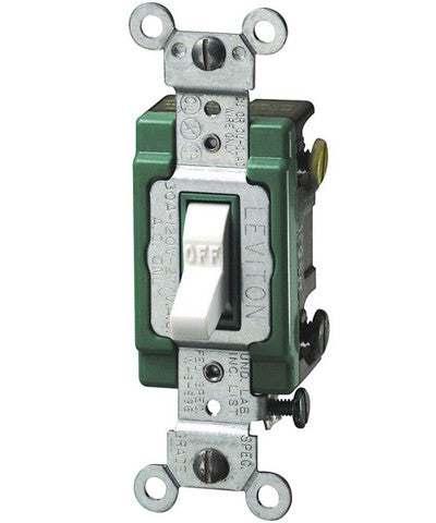 30 Amp, Toggle Double-Pole AC Quiet Switch, 120/277 Volt, Extra Heavy Duty Spec Grade, Self Grounding, Back and Side Wired, Various Colors, 3032-2 - Leviton - 1