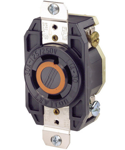30 Amp, 125/250 Volt, NEMA L14-30R, 3P, 4W, Flush Mtg Locking Receptacle, Industrial Grade, Grounding, V-0-MAX - Black, 2710 - Leviton