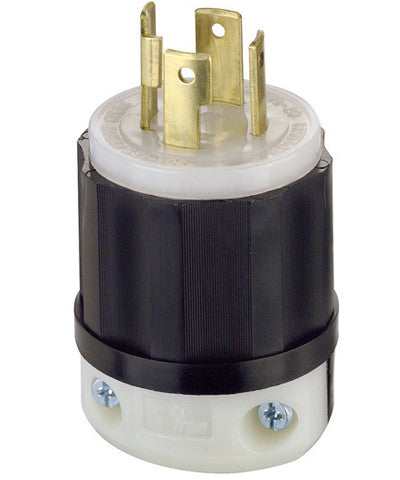 30 Amp, 125/250 Volt, NEMA L14-30P, 3P, 4W, Locking Plug, Industrial Grade, Grounding, Black & White, 2711 - Leviton