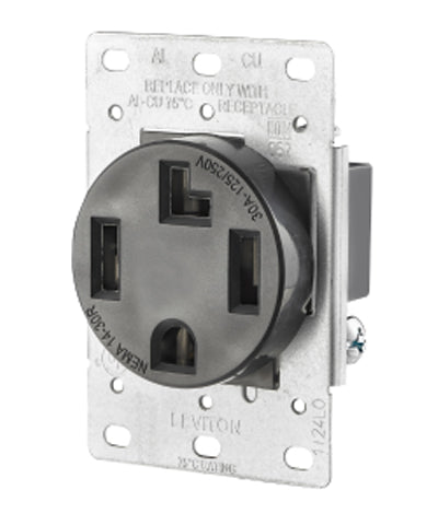 4-Wire, 30-Amp, 250V Flush Mount Dryer Receptacle, 278-S00