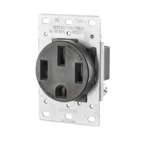 30-Amp, 125/250-Volt, Flush Mount Electrical Receptacle, Straight Blade, Industrial Grade, 5207-S10