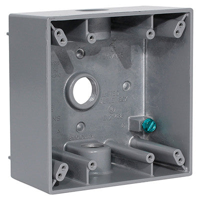 "2-Gang Weatherproof Box with Three 1/2"" Diameter Outlets, 2GM53-GY - Leviton"