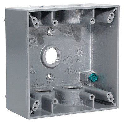 "2-Gang Weatherproof Box with Five 1/2"" Diameter Outlets, 2GM55-GY - Leviton"