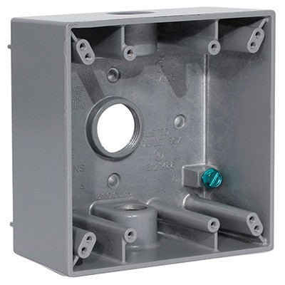 "2-Gang Weatherproof Box with Three 3/4"" Diameter Outlets, 2GM73-GY - Leviton"