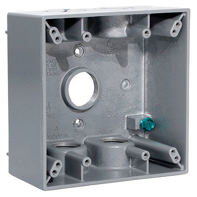 "2-Gang Weatherproof Box with Five 3/4"" Diameter Outlets, 2GM75-GY - Leviton"
