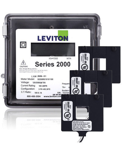 Series 2000 277/480V 3P4W 400A Outdoor kWh Meter Kit with 3 Split Core CTs, 2O480-4W - Leviton