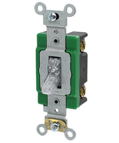 30-Amp, 120-Volt, Toggle Pilot Light, Illuminated ON, Req. Neutral Single-Pole AC Quiet Switch, Extra Heavy Duty Spec Grade, Self Grounding, Back & Side Wired, Clear, 3031-PLC - Leviton