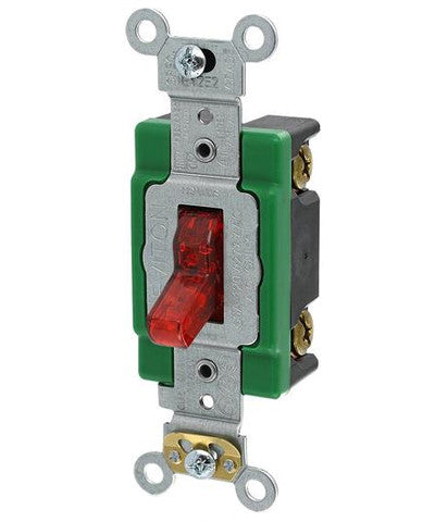 30-Amp, 120-Volt, Toggle Pilot Light, Illuminated ON, Req. Neutral Single-Pole AC Quiet Switch, Extra Heavy Duty Spec Grade, Self Grounding, Back & Side Wired, Red, 3031-PLR - Leviton