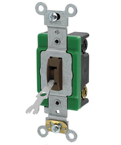 30-Amp, 120/277-Volt, Toggle Locking Double-Pole AC Quiet Switch, Extra Heavy Duty Spec Grade, Self Grounding, Back & Side Wired, Brown, 3032-2L - Leviton
