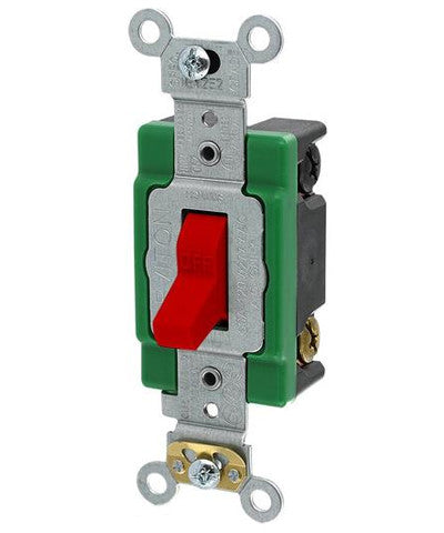30-Amp, 120/277-Volt, Toggle Double-Pole AC Quiet Switch, Industrial Grade, Self Grounding, Back & Side Wired, Red, 3032-2R - Leviton