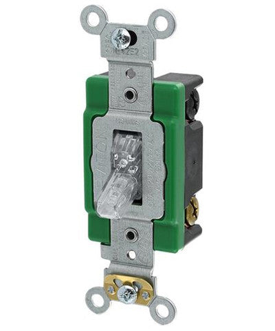 30-Amp, 120-Volt, Toggle Pilot Light, Illuminated ON, Double-Pole AC Quiet Switch, Extra Heavy Duty Spec Grade, Self Grounding, Back & Side Wired, Clear, 3032-PLC - Leviton
