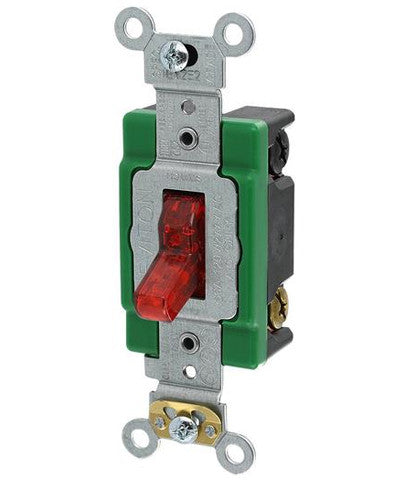 30-Amp, 120-Volt, Toggle Pilot Light, Illuminated ON, Double-Pole AC Quiet Switch, Extra Heavy Duty Spec Grade, Self Grounding, Back & Side Wired, Red, 3032-PLR - Leviton