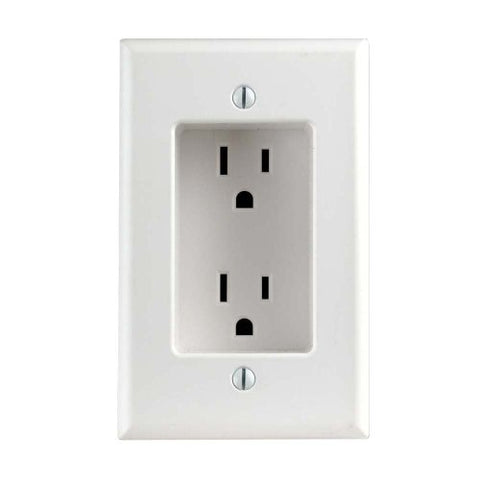 1 Gang Recessed Duplex Receptacle, 2-Pole, 3-Wire, 15a-125v, Nema 5-15r Residential Grade, with Screws Mounted to Housing, White, 012-00689-00W