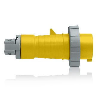 20 Amp, 125 Volt, 2P, 3W, North American-Rated Pin & Sleeve Plug, Industrial Grade, IP67, Watertight, - YELLOW, 320P4W