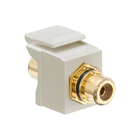 RCA Feedthrough QuickPort Connector, Gold-Plated, Black Stripe, Ivory Housing, 40830-BIE