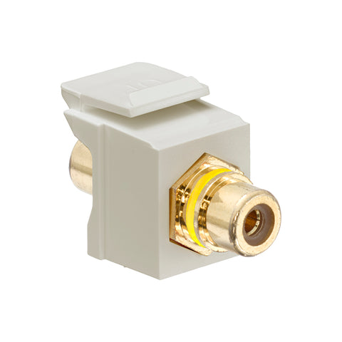 RCA Feedthrough QuickPort Connector, Gold-Plated, Yellow Stripe, Ivory Housing, 40830-BIY