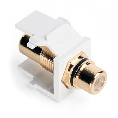 RCA Feedthrough QuickPort Connector, Gold-Plated, Black Stripe, White Housing, 40830-BWE - Leviton