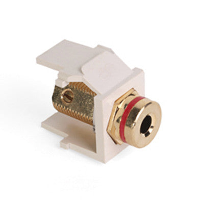 Banana Jack QuickPort Connector, Gold-Plated, Red Stripe, Light Almond Housing, 40837-BTR - Leviton