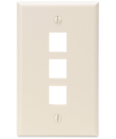1-Gang QuickPort Wall Plate, 3-Port, Light Almond, 41080-3TP - Leviton