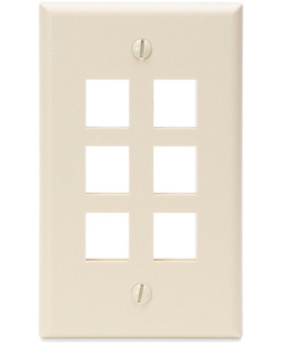 1-Gang QuickPort Wall Plate, 6-Port, Light Almond, 41080-6TP - Leviton