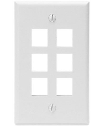 1-Gang QuickPort Wall Plate, 6-Port, 41080-6xx