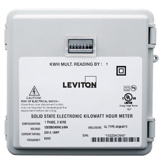 Mini Meter in Small NEMA 4X Enclosures, 120/240V, 2PH, 3W, 200:0.1A, 1 kWh Resolution, Mechanical Counters, 6S201-B02 - Leviton
