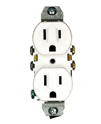 15 Amp 125 Volt, without Ears Duplex Receptacle, Residential Grade, Grounding, All Screws Backed Out, Ivory/White/Brown, 5320-4 - Leviton - 1