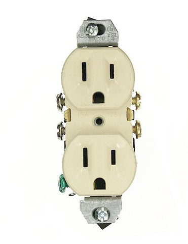 15 Amp 125 Volt, without Ears Duplex Receptacle, Residential Grade, Grounding, All Screws Backed Out, Ivory/White/Brown, 5320-4 - Leviton - 2