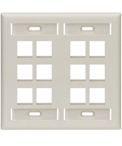 Dual-Gang QuickPort Wall Plate with ID Windows, 12-Port, Light Almond, 42080-12T - Leviton