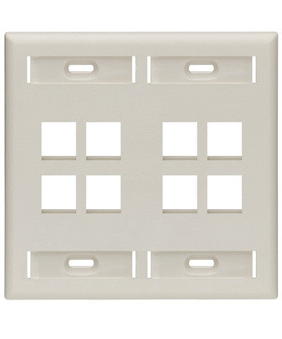 Dual-Gang QuickPort Wall Plate with ID Windows, 8-Port, Light Almond, 42080-8TP