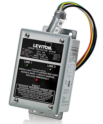 120/240V Single Phase Surge Panel, Enhanced Noise Filtering, NEMA 3R Enclosure, UL 1449 3rd Edition Type 2, 42120-1 - Leviton