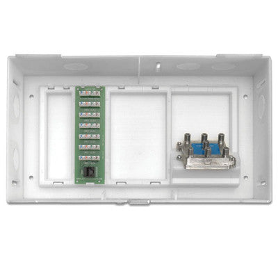 Multi Dwelling Unit, MDU Kit, Plus 1 X 6 Telephone Expansion Board and 6-Way Video Splitter, ABS Enclosure and Cover, White, 47604-F6S - Leviton