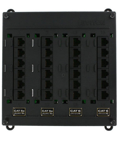 Twist and Mount Patch Panel, 12 CAT 5e ports and 12 CAT 6 ports, 476TM-654 - Leviton