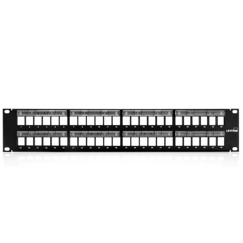 QuickPort Patch Panel with Magnifying Lens Label Holder, 48-Port, 2RU, Cable Management bar included, 49255-L48