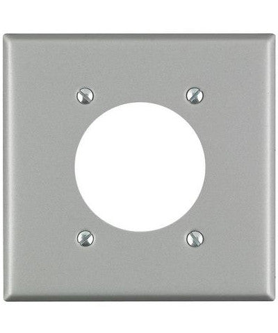 2-Gang Flush Mount 2.15 Inch Dia. Device Receptacle Wall Plate, Standard Size, Steel, Device Mount, Aluminum, 4934 - Leviton