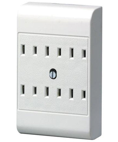 2 Wire 6 Outlet Adapter, White, 49687-W - Leviton