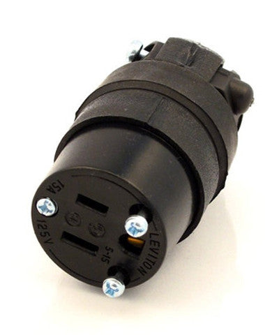 15 Amp, 125 Volt, NEMA 5-15R, 2Pole, 3Wire, Connector, Straight Blade, Rubber, Black, 515CR - Leviton