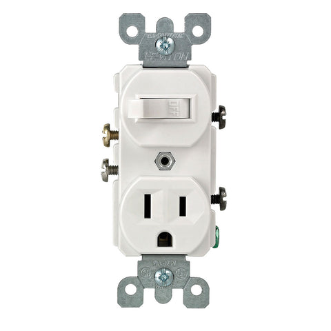 Duplex Style Single-Pole / 5-15R Combination Switch, 5225-W