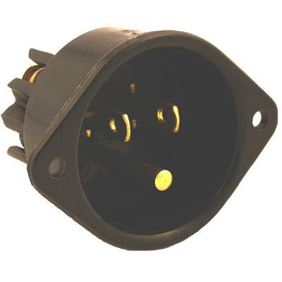 15 Amp, 125 Volt, Flanged Inlet Receptacle, Straight Blade, Commercial Grade, Grounding, Back Wired, Black, 5239 - Leviton
